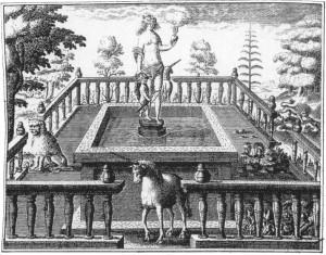 E1 Deux lions et deux licornes protègent par enchantement la fontaine de la Vérité d'Amour.