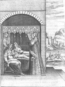 B7 Céladon alité dans une chambre du palais d'Isoure, entouré de Galathée, Léonide et Sylvie