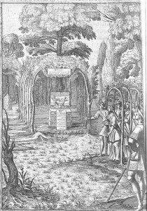 C1 Guidés par Silvandre, les bergers et bergères arrivent devant le temple d'Astrée, sur l'autel duquel est disposée l'image de deux amours
