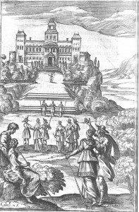 C4 Le château du druide Adamas, devant laquelle celui-ci accueille Astrée