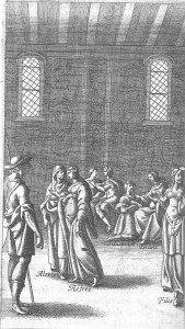 D2 Astrée et Alexis s'entretiennent, au milieu d'autres bergers, dans une salle du château d'Adamas