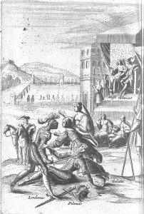 E5 Victoire de Lindamor sur Polémas en combat singulier, en présence de Galathée qui tente d'arrêter le combat